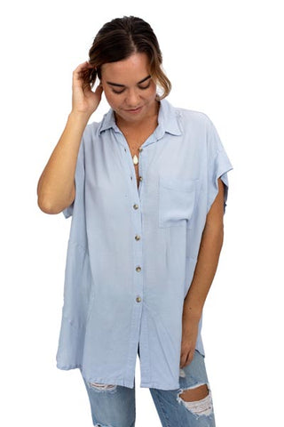 Short Sleeve Pocket Blouse - Light Blue Rayon