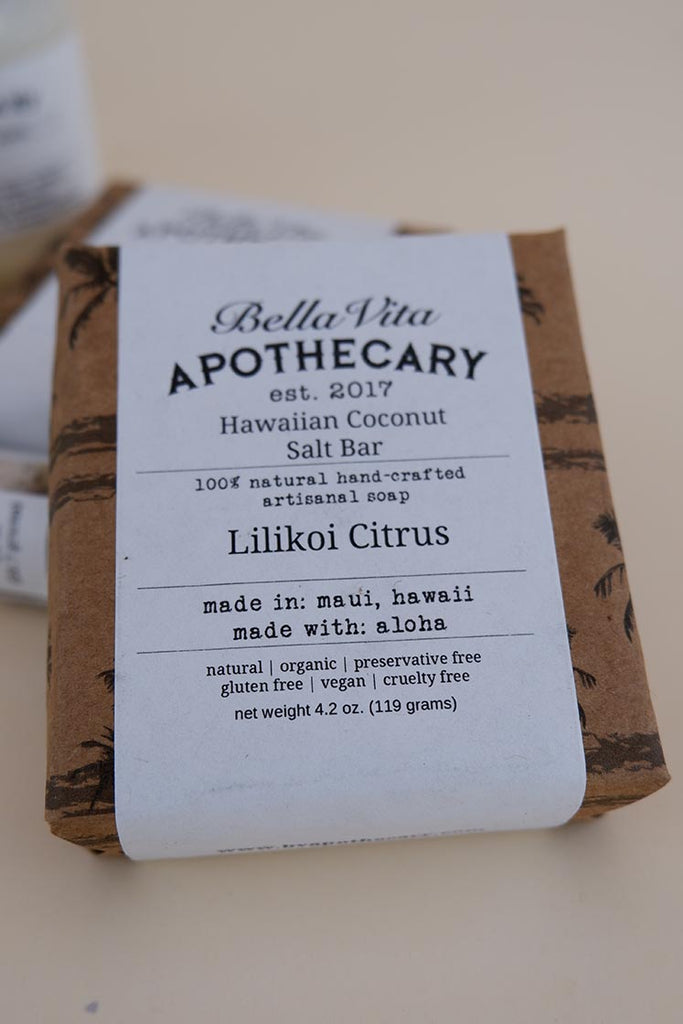 bella vita apothecary hawaiian coconut salt bar lilikoi citrus  natural soap made in maui