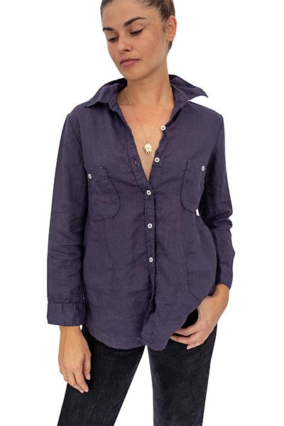 Linen Pocket Blouse - Navy