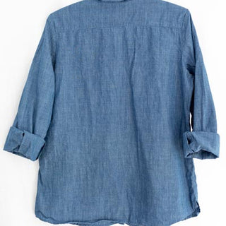 blue chambray linen button up long sleeve blouse with pockets soft and comfy womens top casual everyday shirt haiku maui wings hawaii