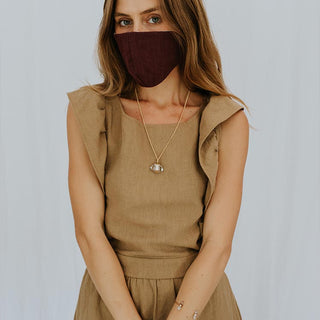 Linen Face Mask - Plum