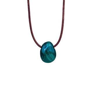 Leather Necklace - Malachite