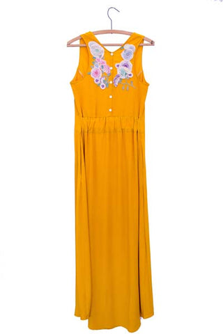 wings hawaii hand sewn and dyed marigold sleeveless maxi dress with V neck, flaring bottom, and vintage embroidery on the back
