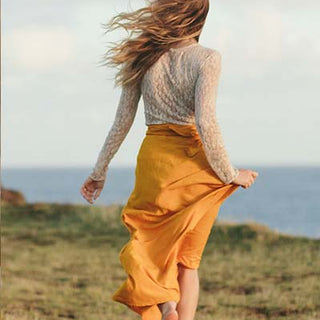 wings hawaii hand dyed marigold flowing wrap maxi skirt with tie on the side 100% rayon