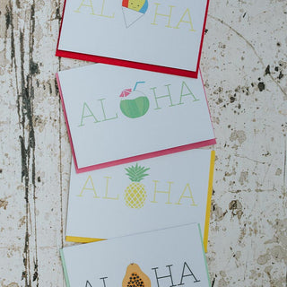matsumoto studio greeting cards aloha shave ice coconut umbrella straw pineapple and papaya tropical fruit maui made snail mail