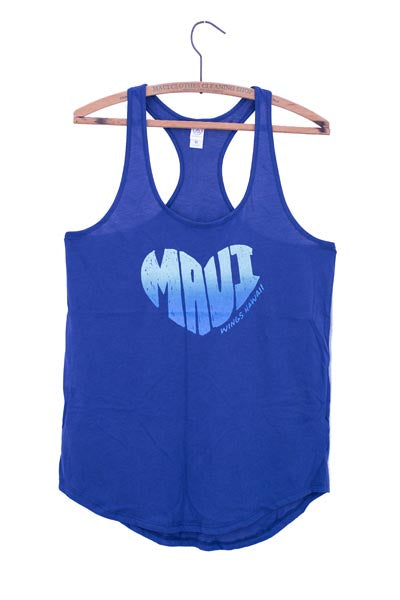 wings hawaii screen printed blue shirt tail tank with maui in the shape of a heart on front