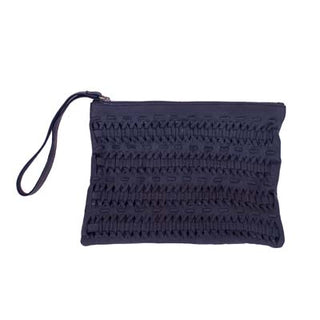 black leather clutch with intricate leather weave on outside by shirley lane