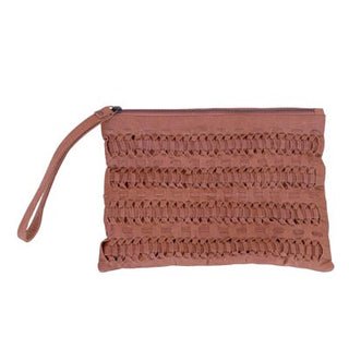 tan leather clutch with intricate leather weave on outside by shirley lane
