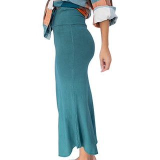 bamboo cotton jersey mermaid skirt soft stretchy comfy teal green womens clothes day to night skirt hand sewn summer festival date night hand sewn haiku maui wings hawaii