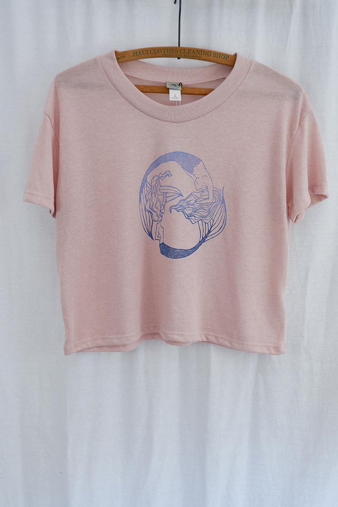 twin mermaids in blue screen printed graphic on pink rose cropped top wings hawaii mermaid clothing beach babe casual wear