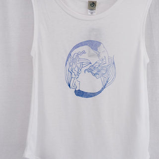 mermaid print in blue on white muscle tank women's mermaid beach babe clothing casual and comfortable wings hawaii