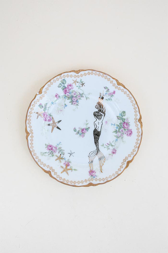 vintage china small plate with mermaid decal wings hawaii