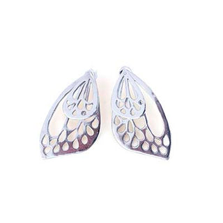 wings hawaii hand made butterfly wing small stud earrings sterling silver 14 karat yellow gold ear jackets