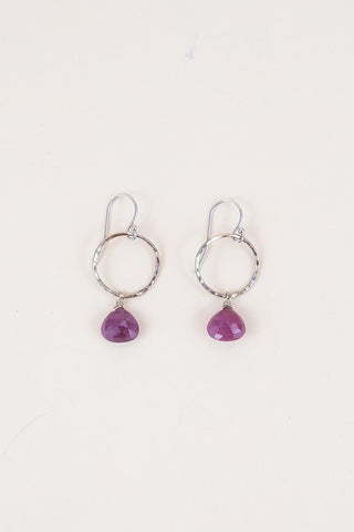 Petite Full Circle Earrings - 14k - Pink Sapphire