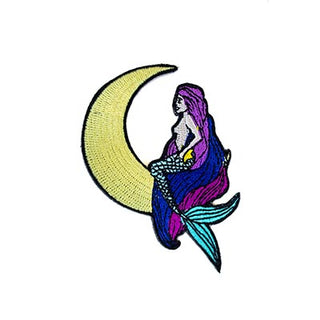 wings hawaii iron on embroidered patch moon crescent moon mermaid maui