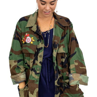 vintage camo jacket button up with pockets one size womens mens moon phases cut out fabric hand sewn haiku maui wings hawaii summer fall winter jacket coat cover up crystal gem stone flowers patches