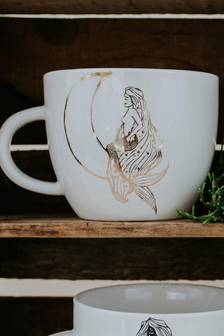 moonmaid mermaid and moon in gold graphic fired onto white ceramic mug for coffee or tea wings hawaii