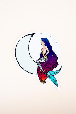 moon maid mermaid sitting on a crescent moon long hair beach babe color sticker blue red purple white wings hawaii