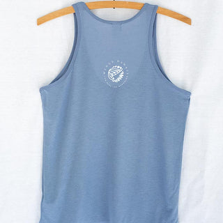 moonmaid slinky tank blue women's top with white crescent moon and mermaid graphic screen printed on the front haiku maui wings hawaii