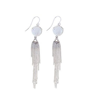 wings hawaii hand made rainbow moonstone earrings sterling silver prong set gem stones with fringe chain magical jewelry