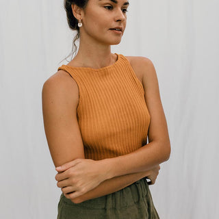 lexi cropped tank mustard color cotton poly blend super soft women's top fall winter chic style hand sewn in haiku maui by wings hawaii