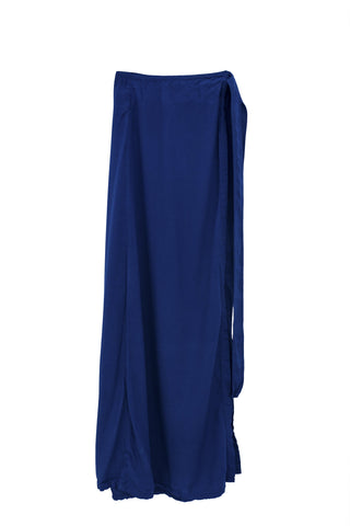 wings hawaii hand dyed navy blue flowing wrap maxi skirt with tie on the side 100% rayon