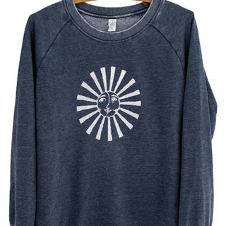 french terry pullover in navy with white sun and moon graphic on the front women's top warm comfortable and casual winter wear screen printed in haiku maui wings hawaii