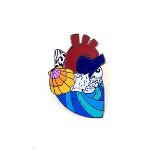wings hawaii enameled pin ocean sea waves heart seashell sunrise beach love maui made