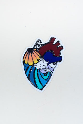 colorful heart sticker with sunrise shell and ocean wave hand drawn maui hawaii artist