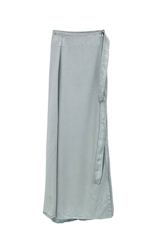 wings hawaii hand dyed sage flowing wrap maxi skirt with tie on the side 100% rayon