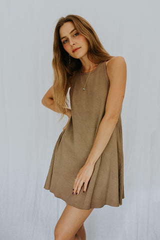 Ribbed Ryanne Dress - Khaki