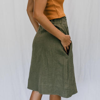 olive green skirt 100% linen with pockets women's casual and cute clothing hand sewn in haiku maui wings hawaii