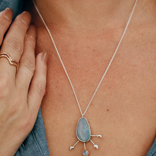 opal moon phase necklace sterling silver bezel set opal stone with moon phases cut out and 14k yellow gold bezel set moonstone gem crystal women's magical jewelry fine necklace celestial wings hawaii