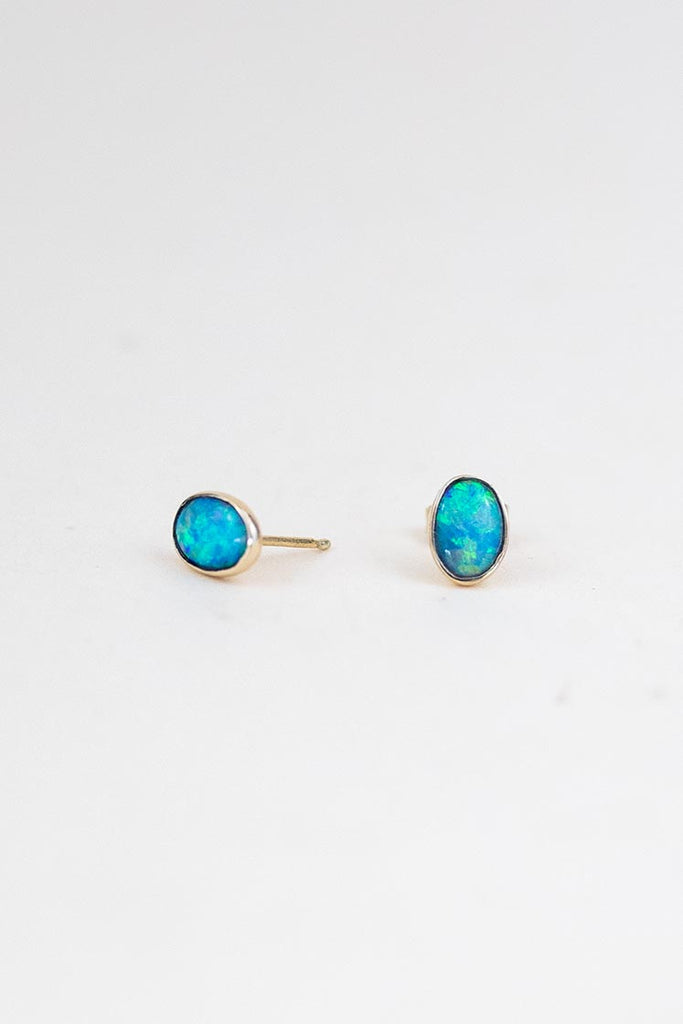sterling silver bezel set austalian opal stud earrings gem stone treasures women's fine minimal crystal jewelry hand made haiku maui wings hawaii