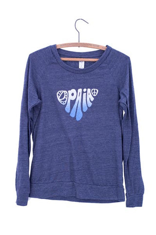 wings hawaii screen printed blue eco pullover with paia printed on front