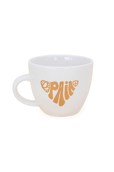 ceramic mug with paia peace sign decals wings hawaii