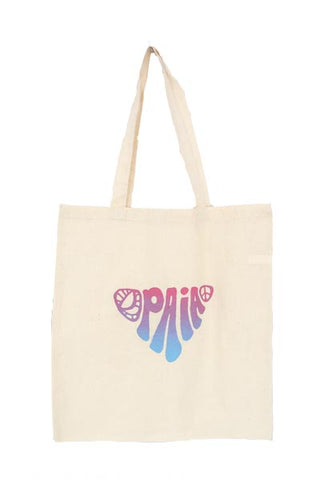 cotton canvas tote bag with paia print