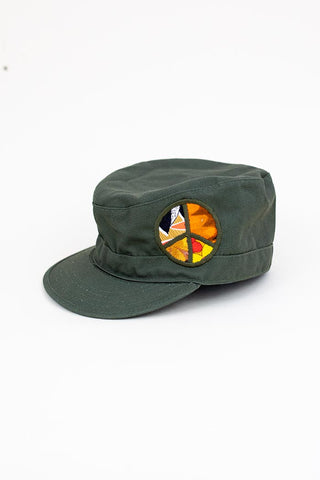 army green military style cap hat womens peace sign patch summer haiku maui wings hawaii accessories