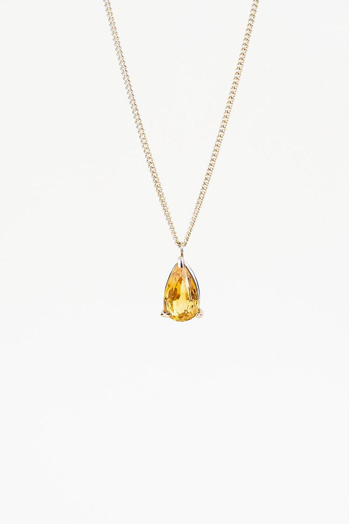 Citrine Teardrop Necklace - 14k