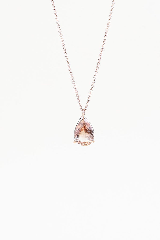 teardrop sunstone necklace prong set on solid 14k rose gold chain and findings women's magical crystal jewelry fine dainty minimal elegant classy style jewelry hand made haiku maui wings hawaii