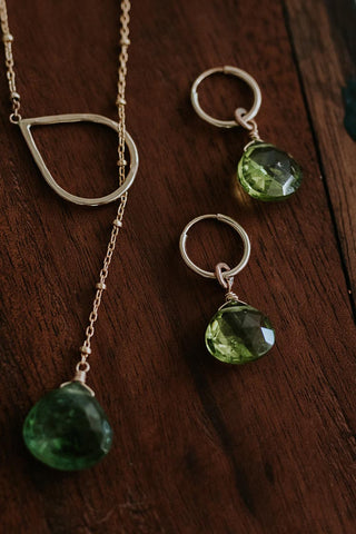 peridot hoop earrings small gold filled wire with gemstones women's magical crystal jewelry simple minimal elegant chic and classy style hand made in haiku maui wings hawaii