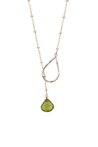 lariat necklace with sterling silver or gold filled chain with peridot stone drop women's crystal gem stone jewelry hand made haiku maui wings hawaii