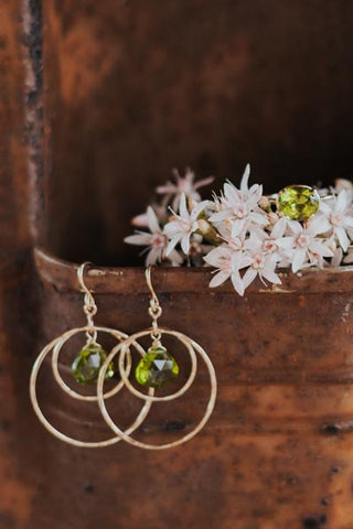 Petite Double Hoop Earrings - Peridot