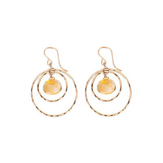 Petite Double Hoop Earrings - Citrine