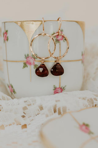 Petite Full Circle Earrings - Garnet