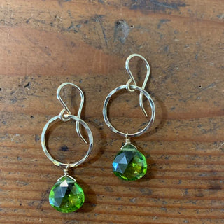 sterling silver or gold filled petite small full circle earrings with peridot crystal gem stones green good luck womens dainty fine everyday jewelry mermaids treasure made in haiku maui wings hawaii