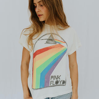 model wearing white pink floyd tee shirt with triangle and rainbow print