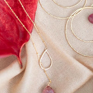 lariat style necklace with sterling silver or gold filled chain with a pink tourmaline stone drop women's jewelry hand made in haiku maui wings hawaii gem stone jewels crystal magic