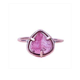 wings hawaii pink tourmaline teardrop shaped gem stone ring 14 karat rose gold fine mermaid boho jewelry hear stone
