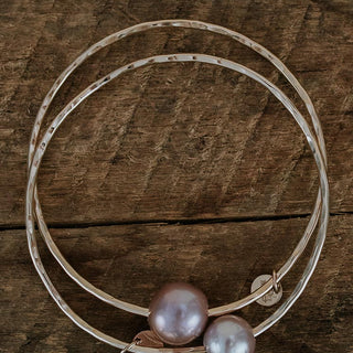 ti leaf bangle with pink fresh water pearls on gold filled hammered wire women's beachy boho mermaid style jewelry hand made haiku maui wings hawaii